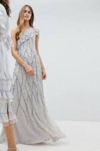 Amelia Rose Frill One Shoulder All Over Embellished Maxi Dress