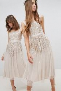 Amelia Rose Tall Embellished Ombre Sequin Cami Strap Midi Dress