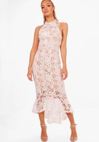 Boohoo Boutique Elena Lace Frill Hem High Neck Dress
