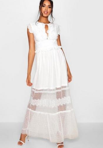 Boohoo Boutique Fay Dobby And Mesh Maxi Dress