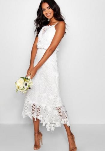 Boohoo Boutique Joy Lace Flared Hem Midi Dress