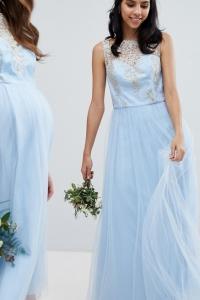 Chi Chi London Bardot Neck Sleeveless Maxi Dress With Premium Lace And Tulle Skirt