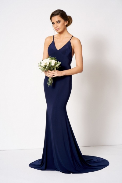 Cross Back Fishtail Maxi Dress By Club L