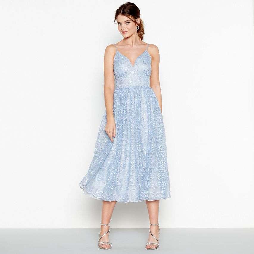 Debut Light Blue 'Madeline' Embroidered V Neck Midi Dress