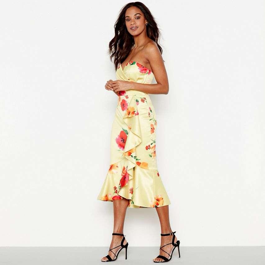 Debut Yellow Posey Print Satin Dress