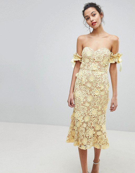 Jarlo All Over Cutwork Lace Bardot Midi Dress With Tie Sleeve Detail