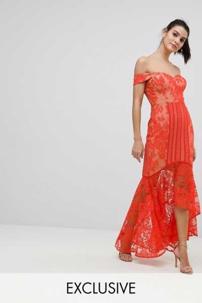Jarlo All Over Lace Off Shoulder Fishtail Midi Dress