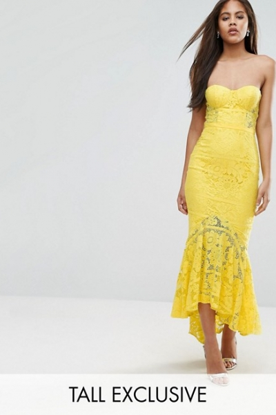 Jarlo Tall Allover Lace Bandeau Midi Dress With Highlow Fishtail