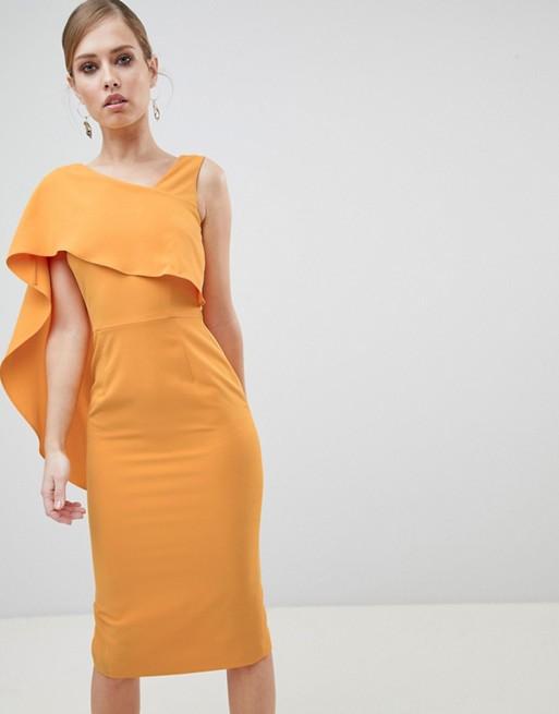 Lavish Alice Midi Dress With Drape One Shoulder