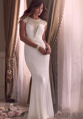 Lipsy Bridal Liliana Pearl Front Plunge Maxi Dress