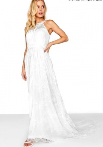 Little Mistress High Neck Lace Bridal Maxi Dress