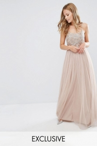 Maya Cami Strap Maxi Dress With Tulle Skirt And Embellishment