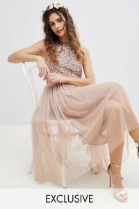 Maya Sleeveless Sequin Bodice Tull Detail Midi Dress With Cutout Back
