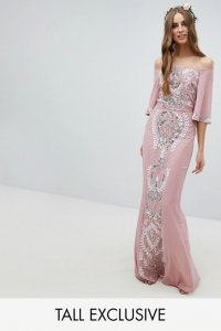 Maya Tall All Over Embellished Bardot Maxi Dress With Fluted Sleeves