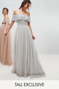 Maya Tall Bardot Sequin Top Tulle Detail Dress