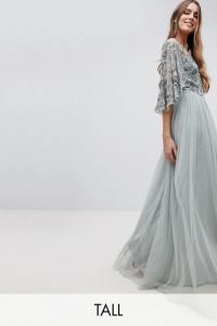 Maya Tall Sequin Cape Tulle Skirt Maxi Bridesmaid Dress