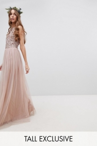 Maya Tall Sleeveless Sequin Bodice Tulle Detail Maxi Dress With Cutout Back