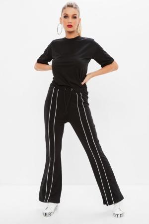 Missguided Black Drawstring Stripe Tracksuit Jumpsuit