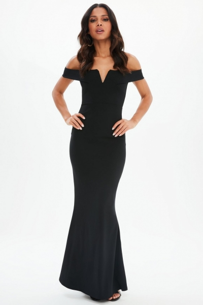 Missguided Black Scuba Fishtail Maxi Dress
