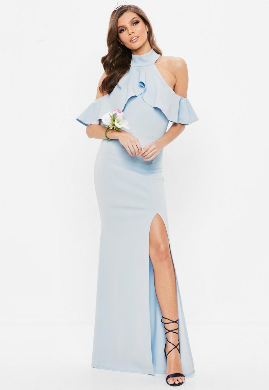 Missguided Blue Frill Halterneck Maxi Dress