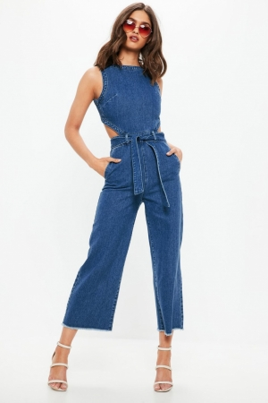 Missguided Blue Sleeveless Cut Out Back Denim Jumpsuit