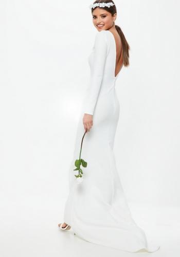 Missguided Bridal White Long Sleeve Open Back Fishtail Dress