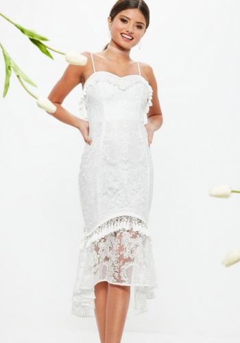 Missguided Bridal White Strappy Lace Tassel Detail Dip Hem Midi Dress