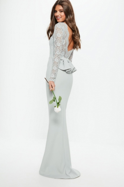 Missguided Bridesmaid Grey Backless Lace Bow Detail Maxi Dress