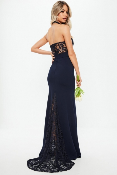 Missguided Bridesmaid Navy Halterneck Lace Insert Fishtail Dress
