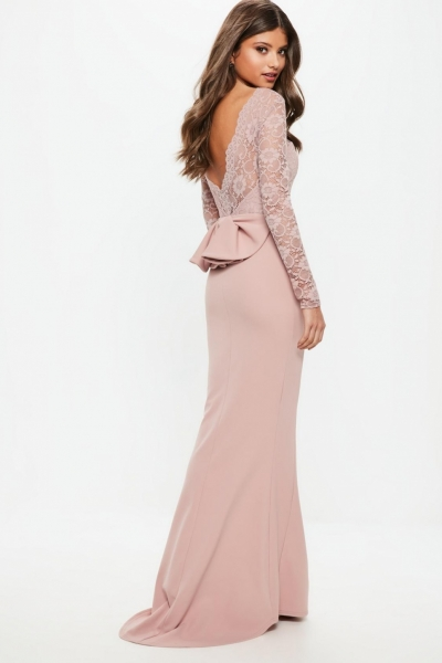 Missguided Bridesmaid Pink Backless Lace Bow Detail Maxi Dress