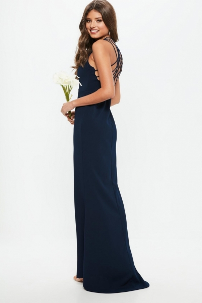 Missguided Bridesmaids Navy 90s Neck Strappy Fishtail Maxi Dress