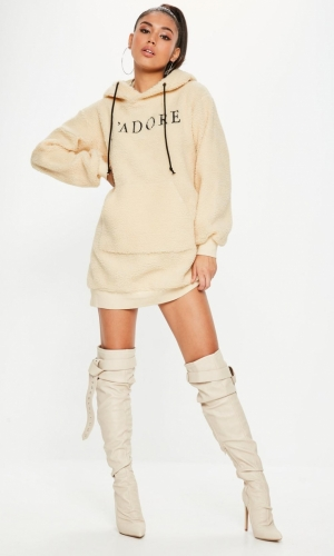 Missguided Cream Borg Jadore Sweater Dress