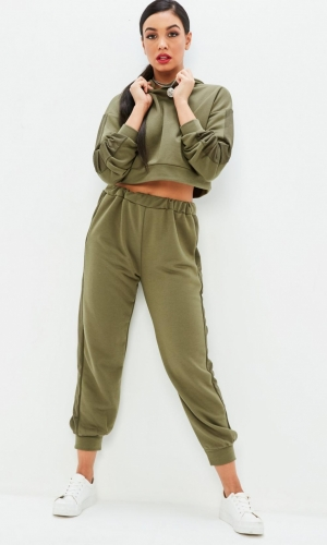 Missguided Khaki Lightweight Loopback Joggers Set