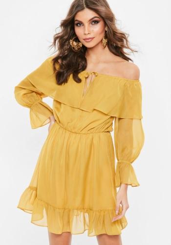 Missguided Mustard Yellow Chiffon Frill Gypsy Dress
