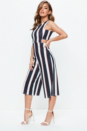 Missguided Navy Stripe Cut Out Side Jumpsuit