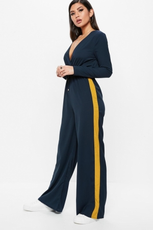 Missguided Navy Wrap Side Stripe Wide Leg Jumpsuit