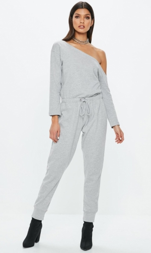 Missguided Off The Shoulder Jumpsuit Grey