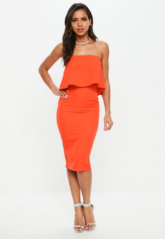 Missguided Orange Bandeau Frill Midi Dress