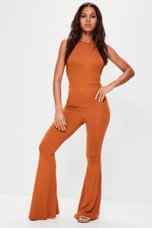 Missguided Orange Jersey Halterneck Flared Leg Jumpsuit