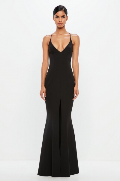 Missguided Peace + Love Black Cami Fishtail Maxi Dress