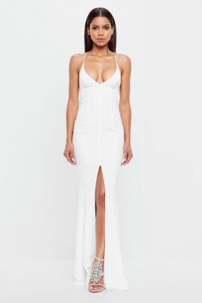 Missguided Peace + Love White Cami Fishtail Maxi Dress