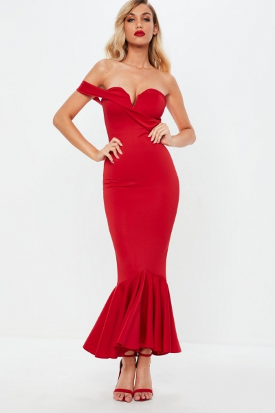 Missguided Red Asymmetric Bandeau Fishtail Maxi Dress