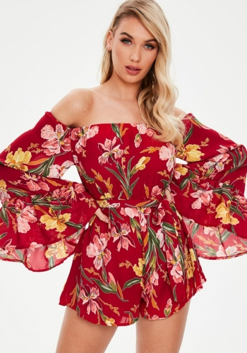 Missguided Red Floral Bardot Tie Detail Playsuit