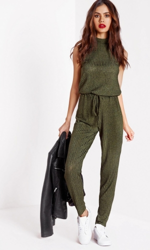 Missguided Roll Neck Skinny Rib Jumpsuit Khaki