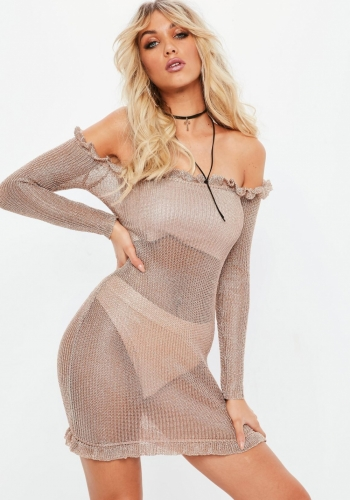 Missguided Rose Gold Bardot Metallic Frill Bodycon Knitted Dress