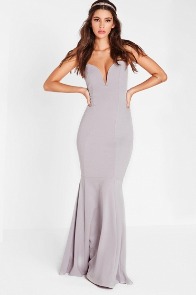 Missguided Scuba Bandeau Fishtail Maxi Dress Grey