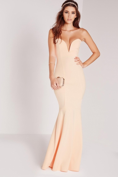 Missguided Scuba Bandeau Fishtail Maxi Dress Nude