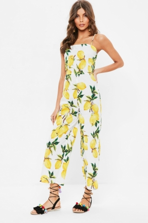 Missguided White Lemon Print Jumpsuit