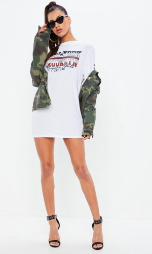 Missguided White Long Sleeve Brooklyn Slogan T Shirt Dress