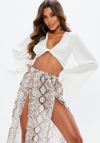 Missguided White Twist Front Flared Sleeve Crop Top